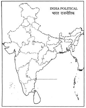 Blank Political Map Of India.Social Studies 2007 Set I Outside Delhi